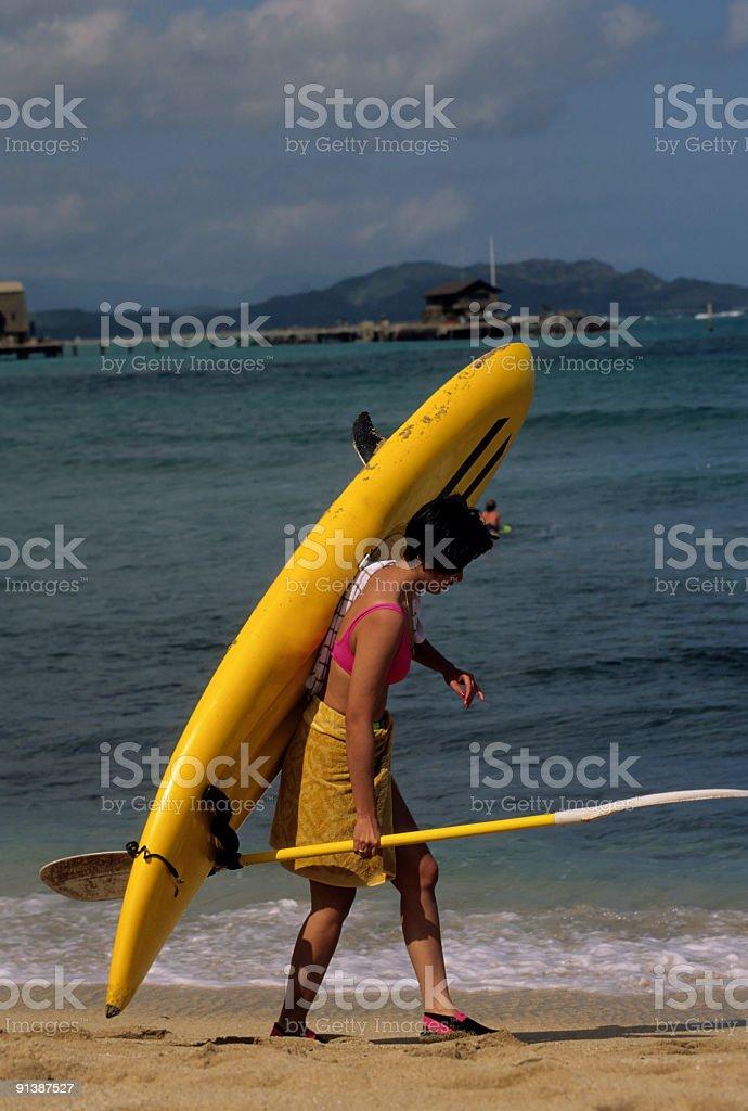 Woman Walking With Kayak royalty-free stock photo
