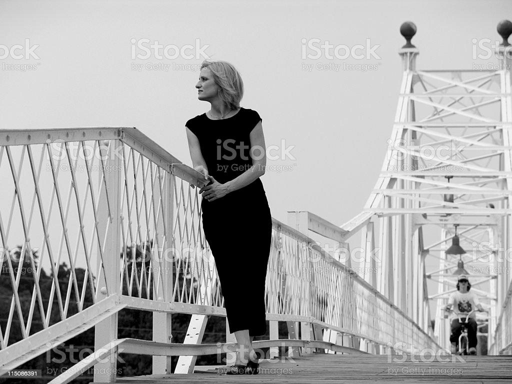 woman walkway stock photo