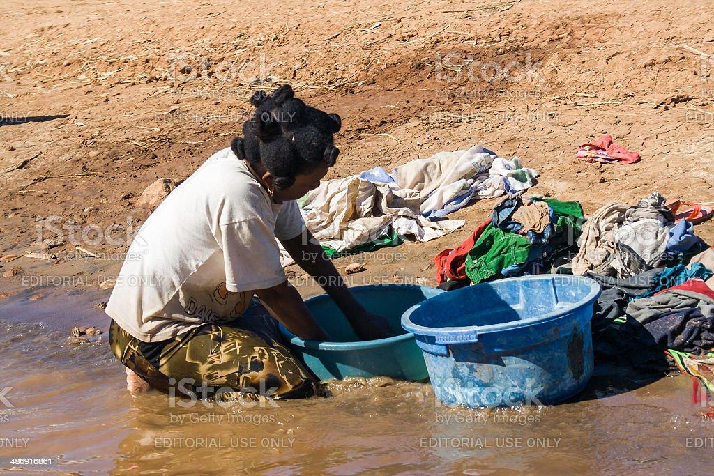 Woman washing stock photo