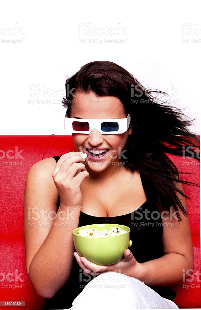 Woman watching 3D movie. royalty-free stock photo
