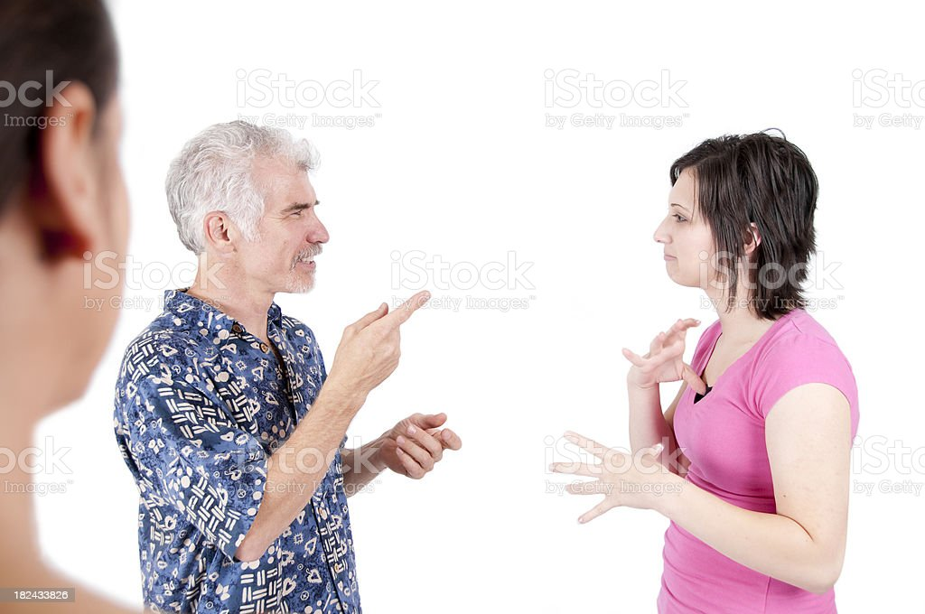 Woman watching a Deaf Converation stock photo