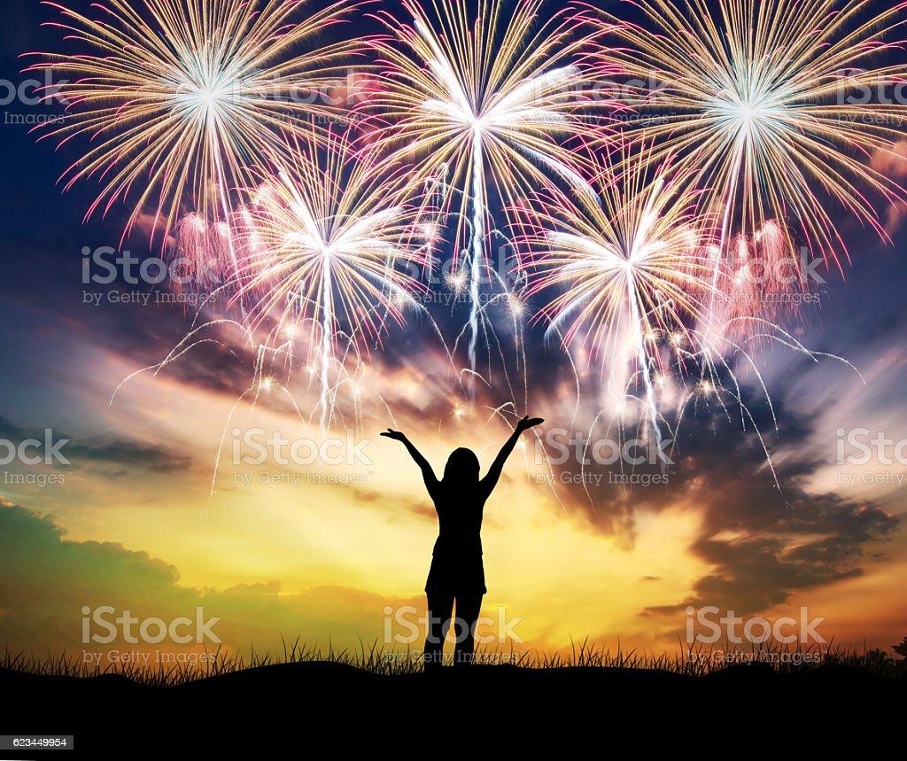 Woman watching beautiful fireworks holiday. stock photo