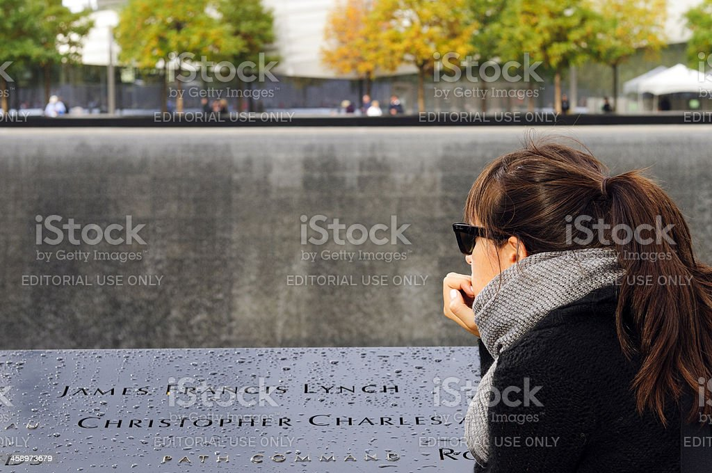 Woman watching Ground Zero, New York City, USA royalty-free stock photo