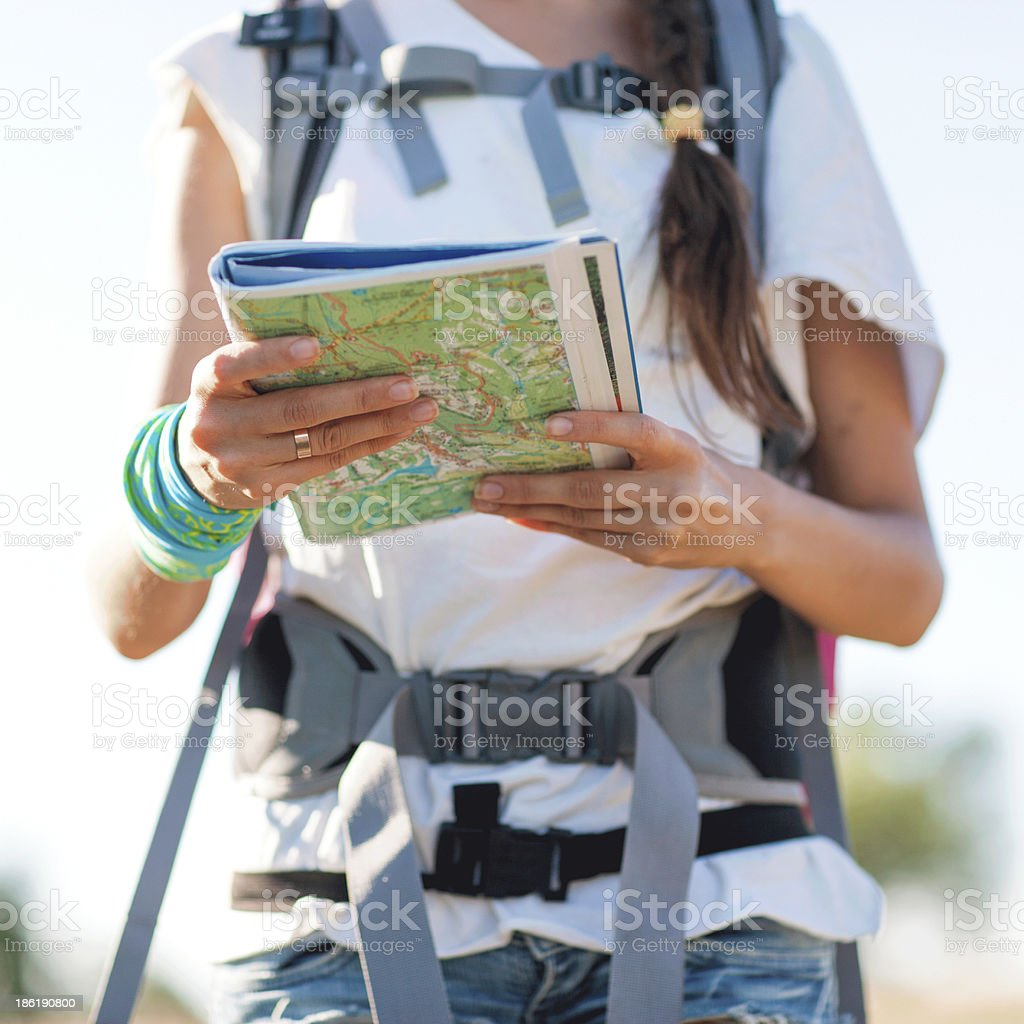 woman watching on map royalty-free stock photo