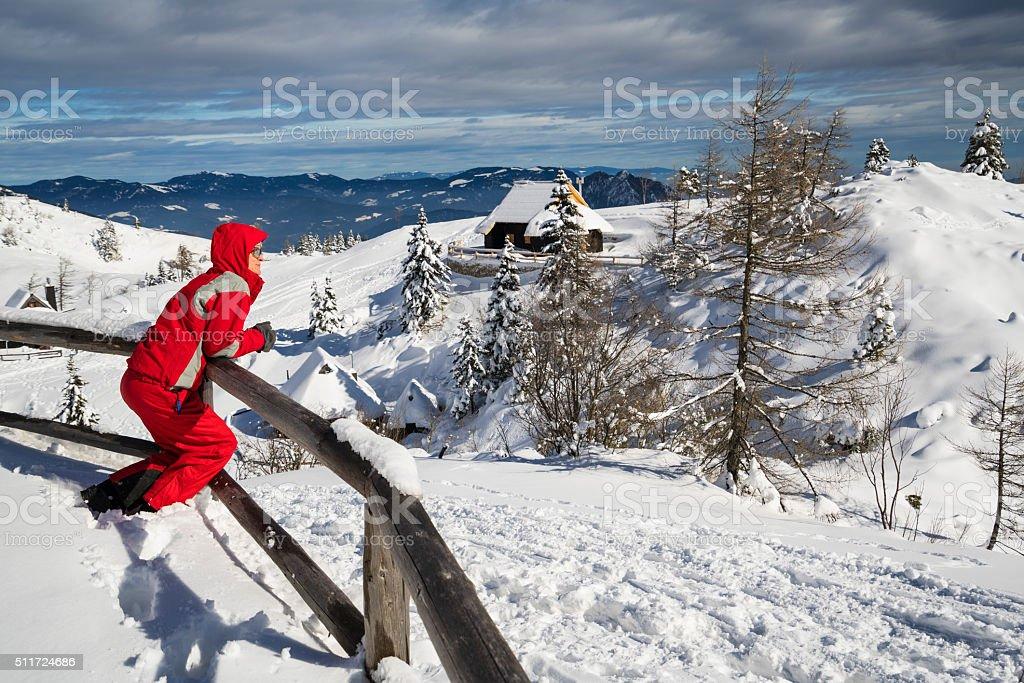 Woman watching the landscape at Velika Planina, Slovenia stock photo