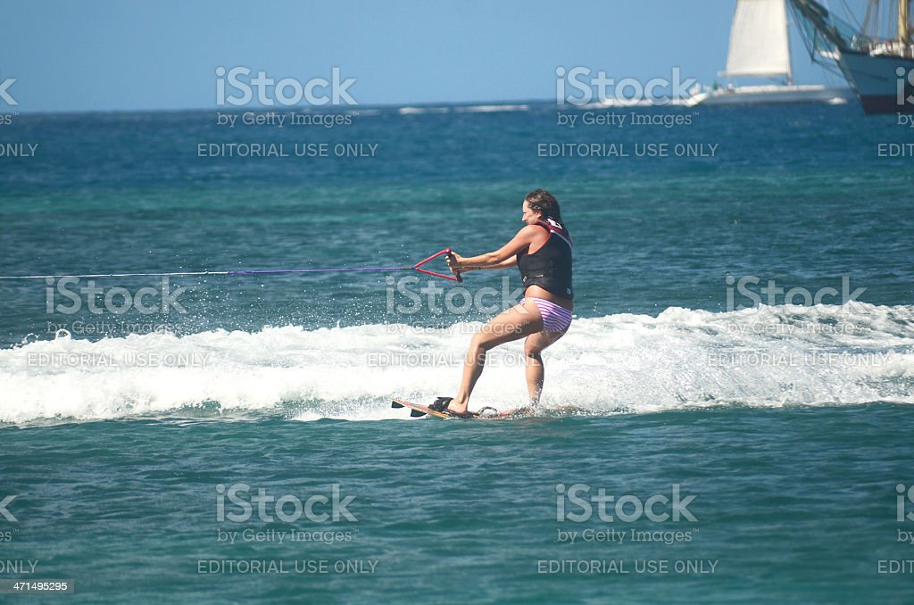 woman waterskiing in the waters of st lucia royalty-free stock photo