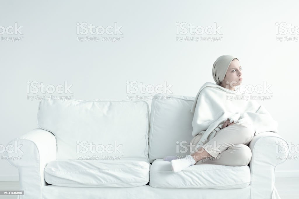 Woman weak after chemotherapy stock photo