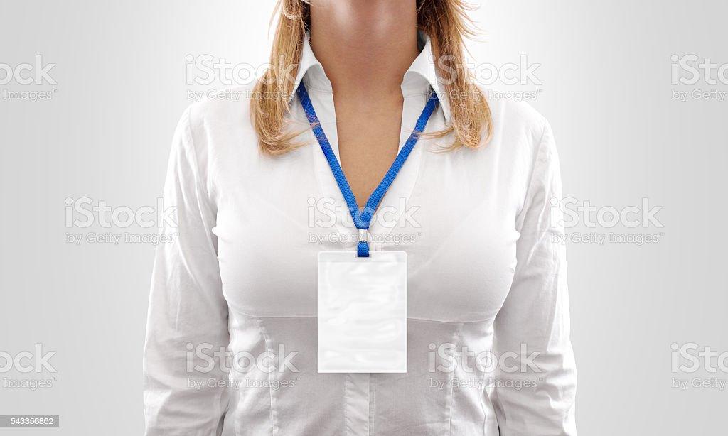 Woman wear big blank white vertical badge mockup, stock photo