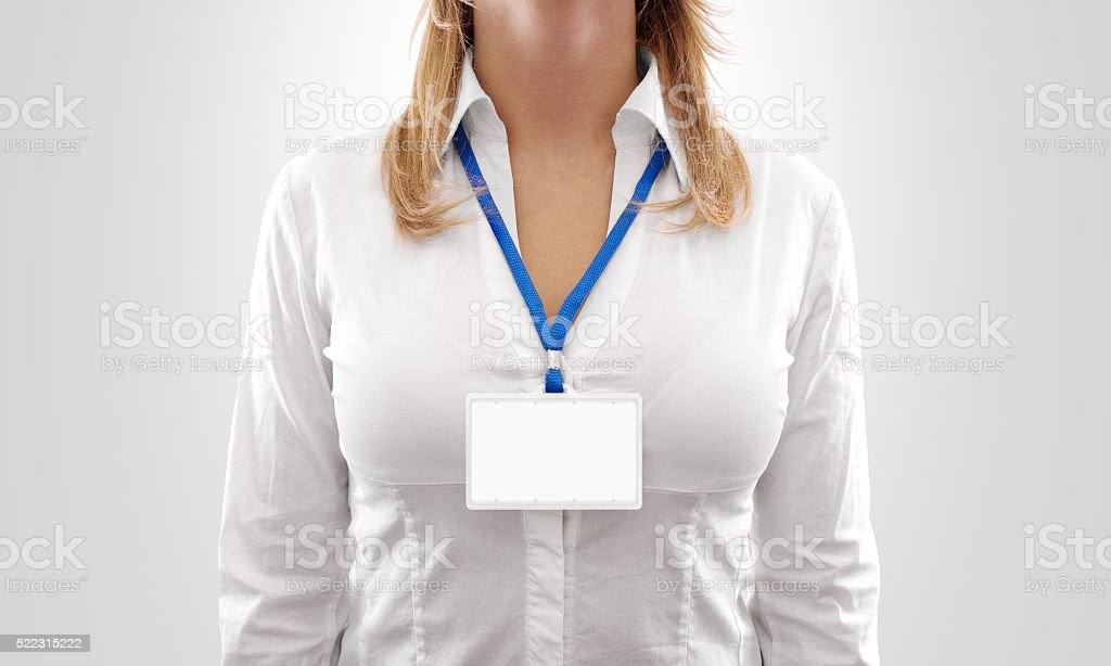 Woman wear blank white horizontal badge mockup stock photo