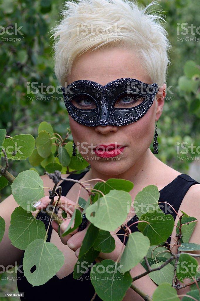 Woman Wearing a Black Mask royalty-free stock photo