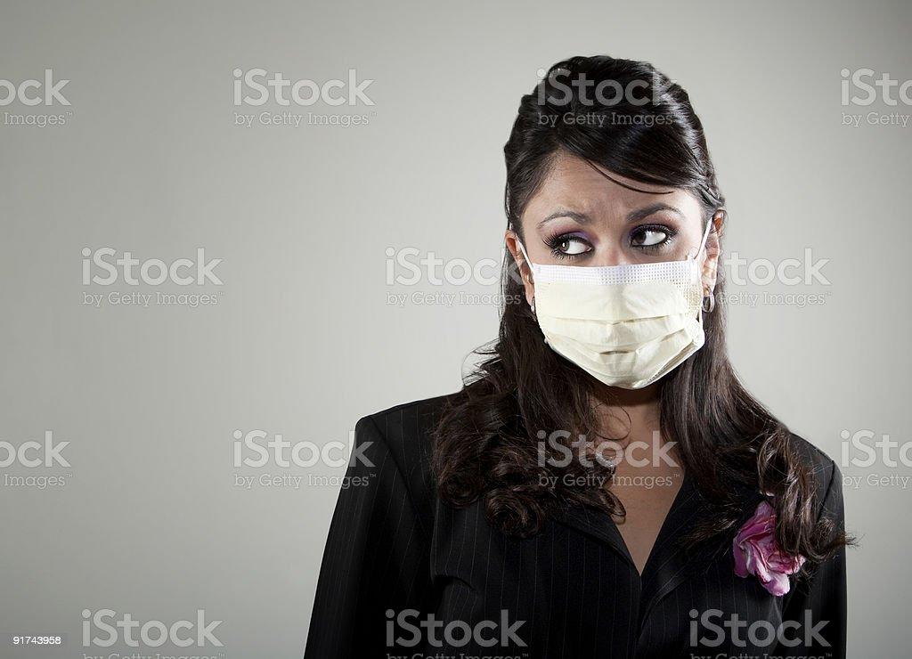 Woman wearing a breathing mask stock photo