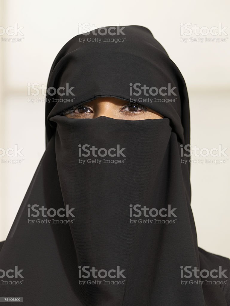 Woman wearing a burkha stock photo