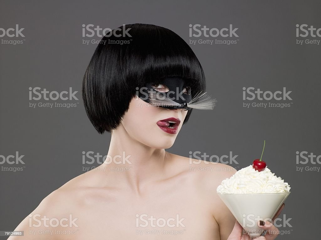 Woman wearing a costume mask royalty-free stock photo