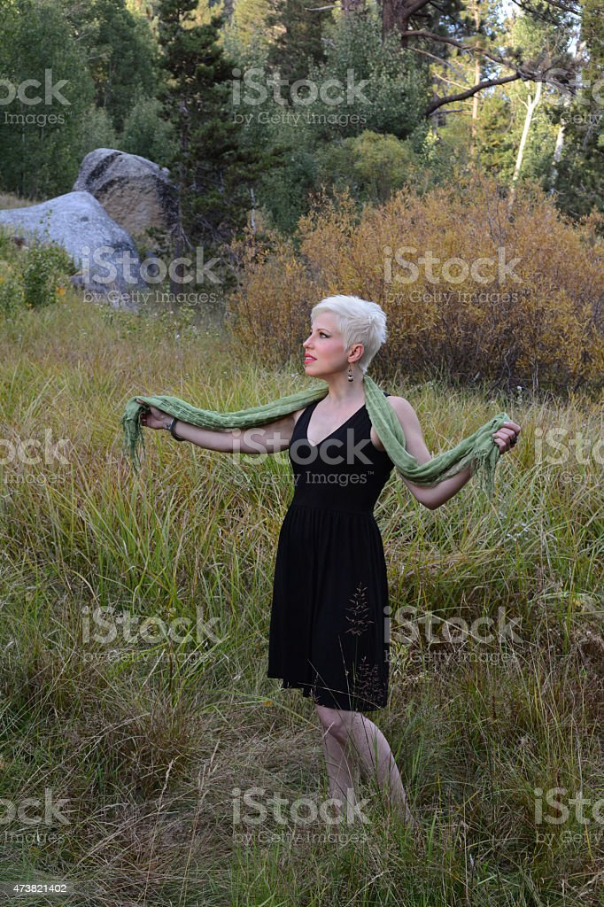 Woman Wearing a Green Scarf royalty-free stock photo