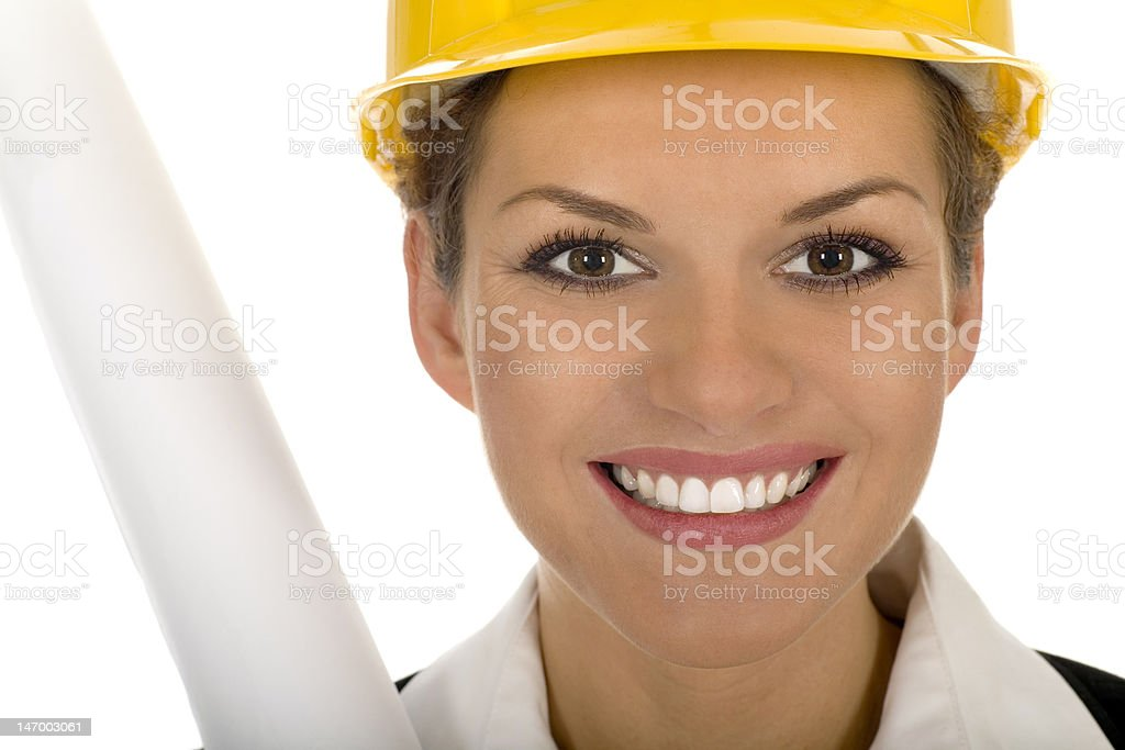 Woman wearing a hardhat royalty-free stock photo