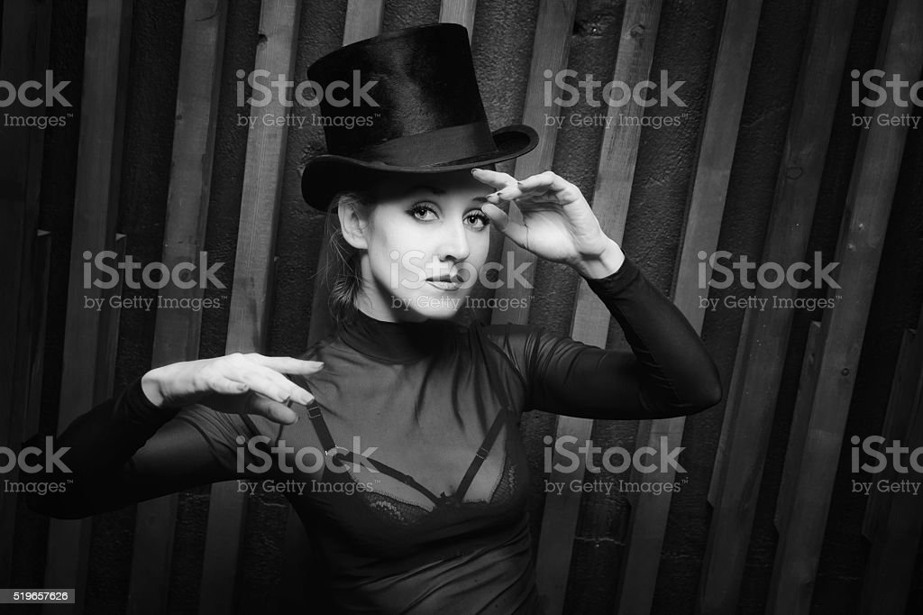 Woman wearing a high hat stock photo