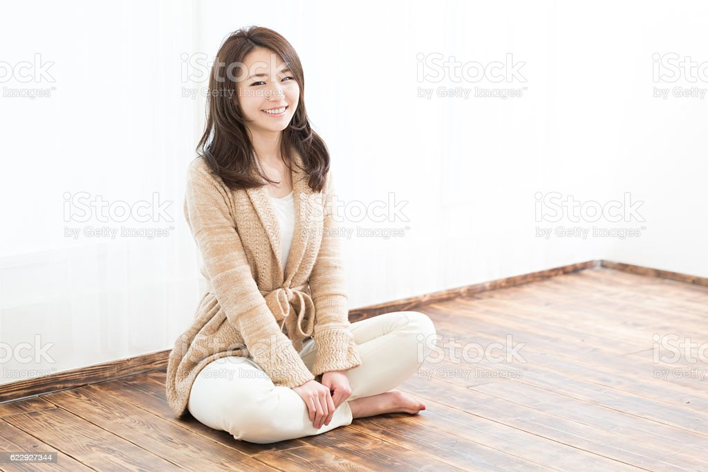 Woman wearing a jumper stock photo