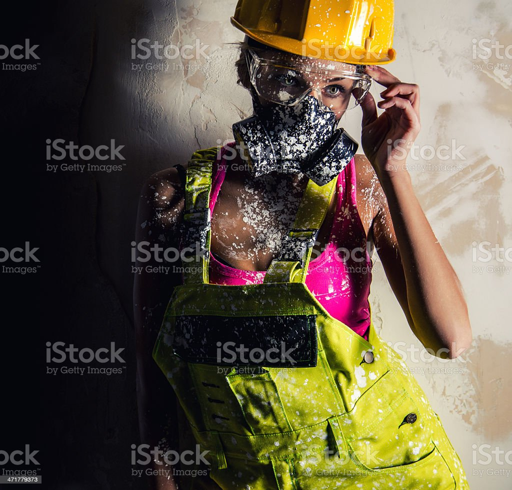 Woman wearing a respirator royalty-free stock photo