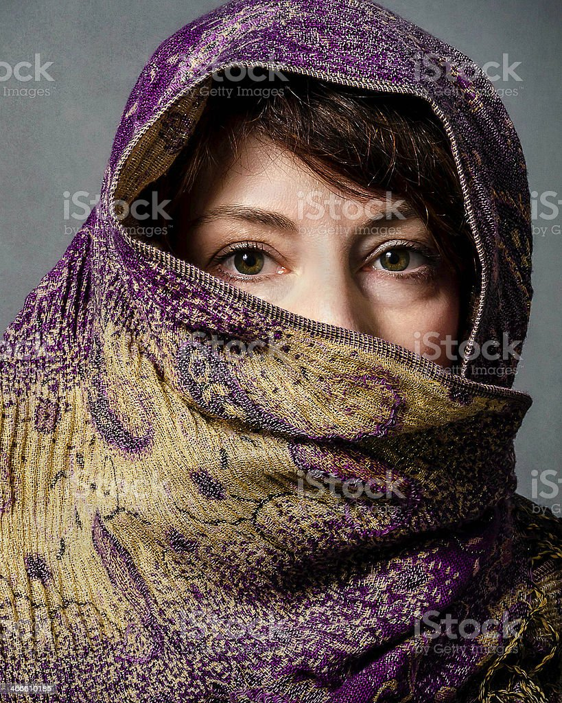 Woman Wearing a Scarf stock photo
