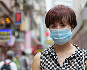 Woman Wearing a Surgical Mask in Hong Kong