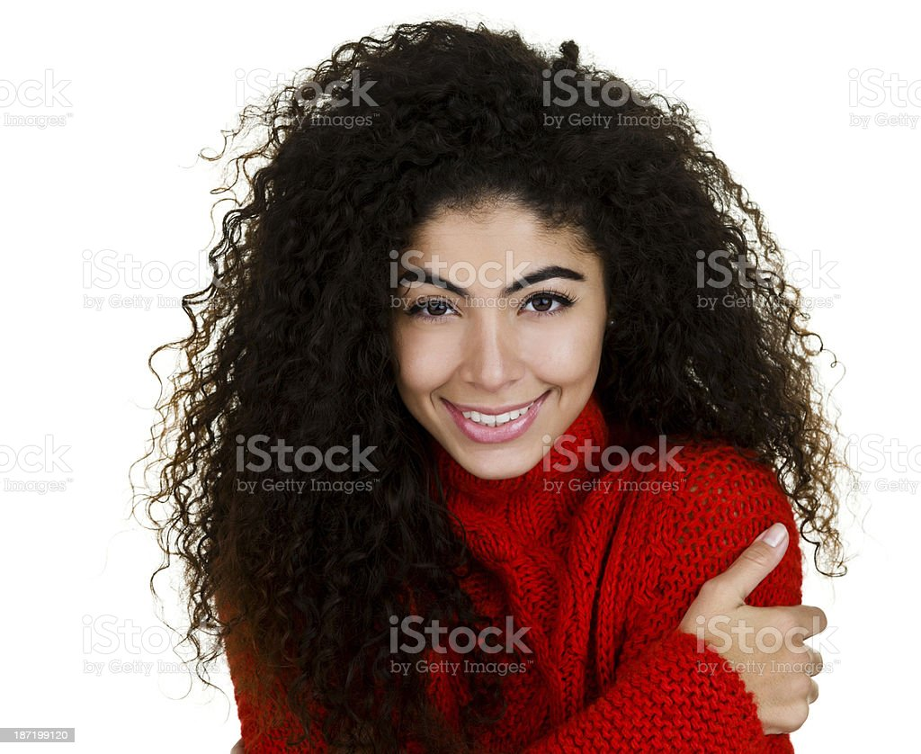 Woman wearing a sweater royalty-free stock photo