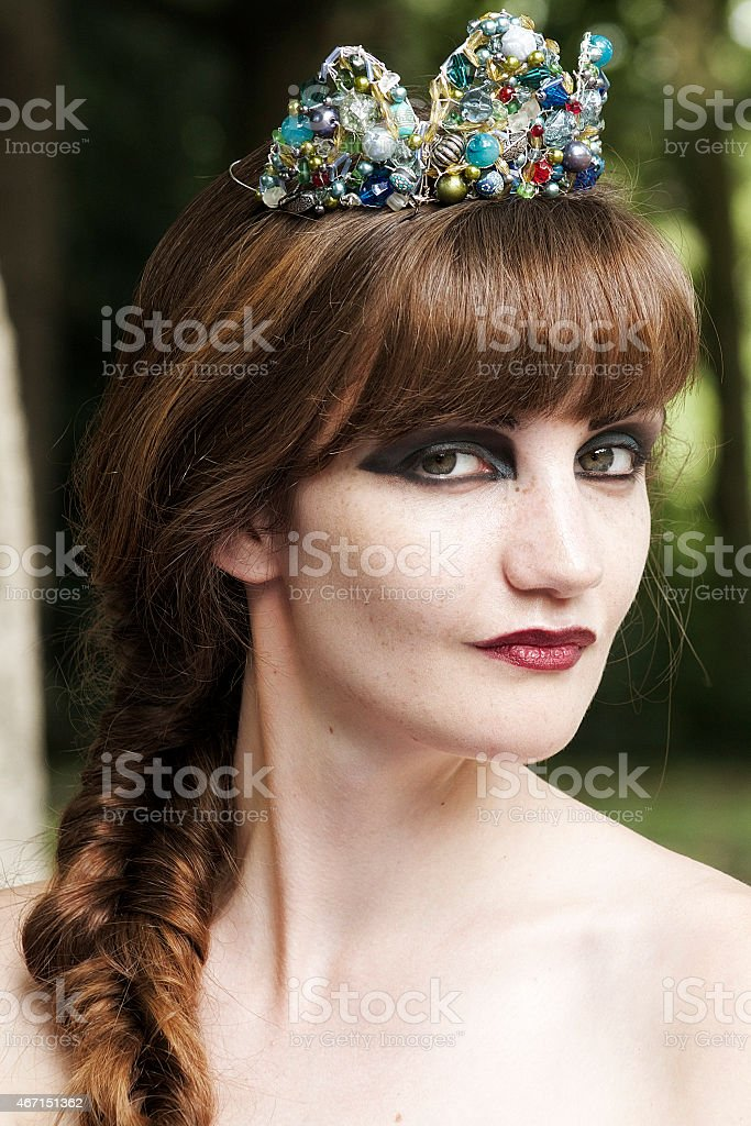 Woman Wearing a Unique Tiara stock photo