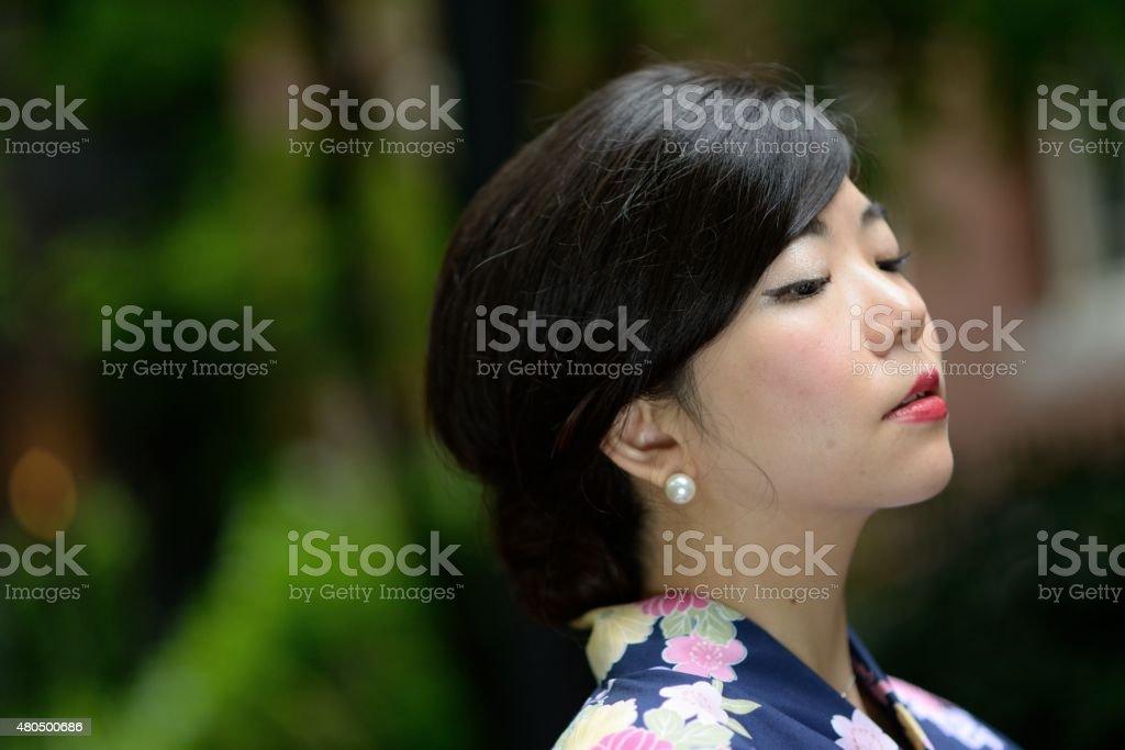 Woman wearing a yukata stock photo