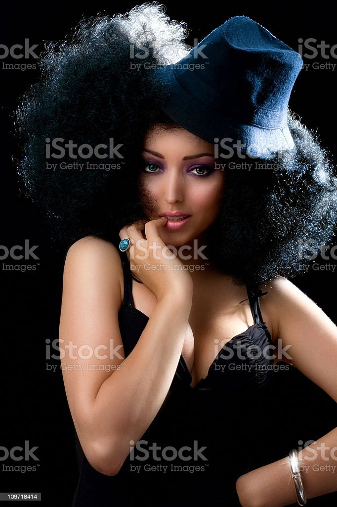 Woman Wearing Afro Hairstyle Wig royalty-free stock photo