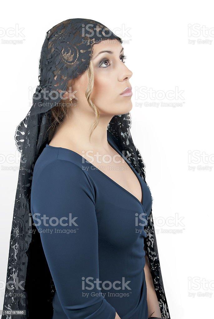 Woman wearing blanket stock photo