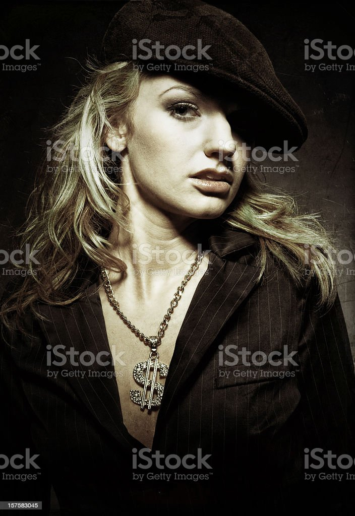 woman wearing bling money sign stock photo