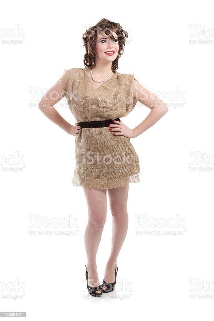 Woman Wearing Burlap Potato Sack Dress royalty-free stock photo