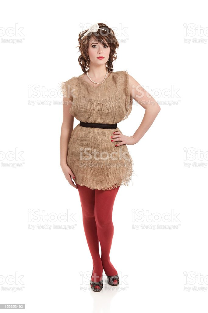 Woman Wearing Burlap Potato Sack Dress royalty-free stock photo