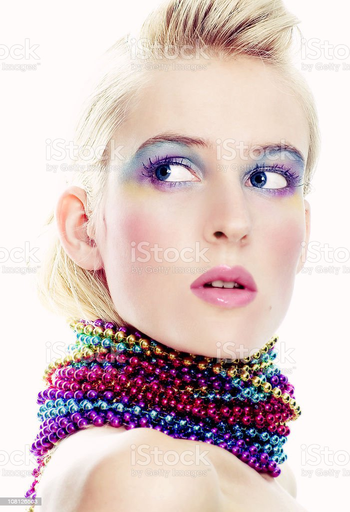 Woman Wearing Colorful Make-Up royalty-free stock photo