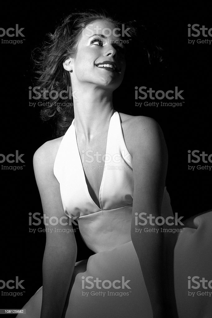 Woman Wearing Dress, Black and White royalty-free stock photo