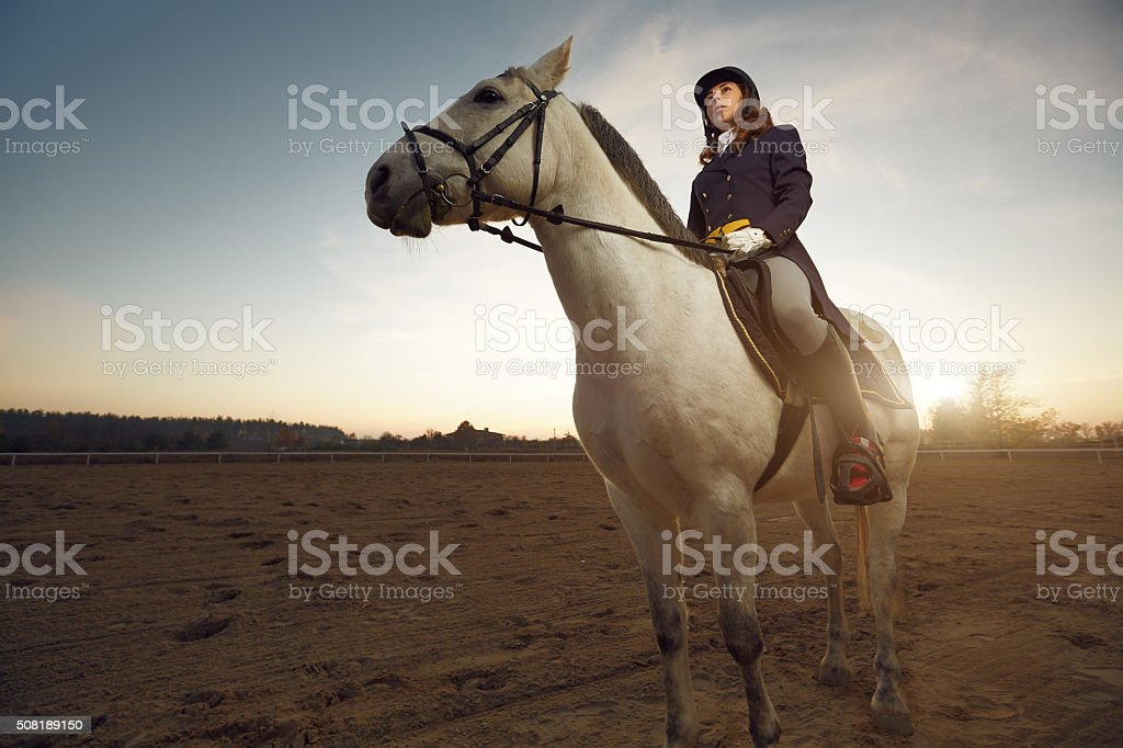 Woman wearing dressage costume riding a horse stock photo