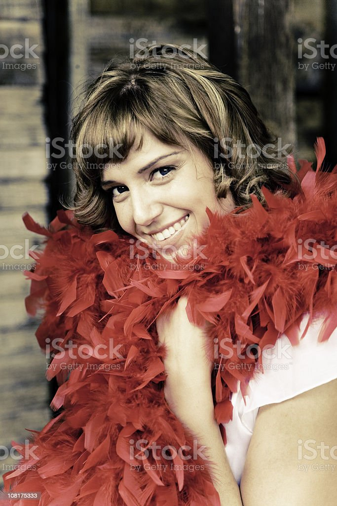 Woman Wearing Feather Boa royalty-free stock photo