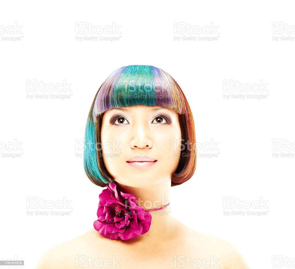 Woman Wearing Flower Around Neck royalty-free stock photo