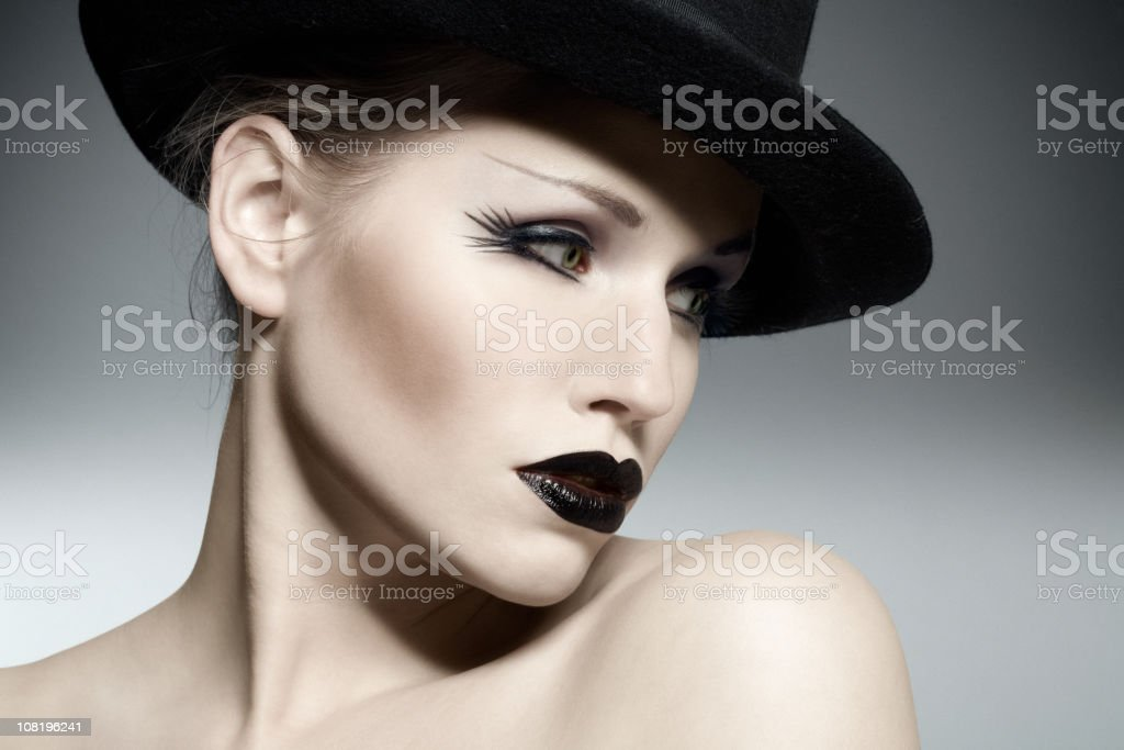 Woman Wearing Gothic make-up stock photo