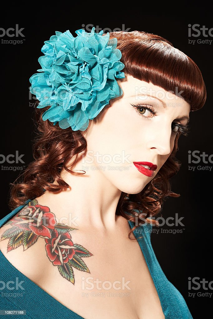 Woman Wearing Hair Ornament stock photo