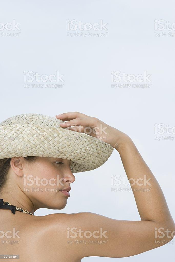 Woman wearing hat royalty-free stock photo