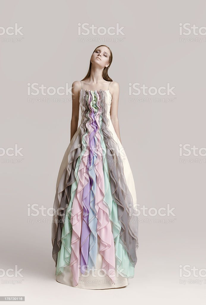 Woman wearing haute couture gown stock photo