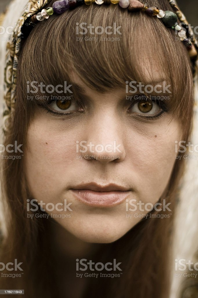 Woman Wearing Head Covering stock photo