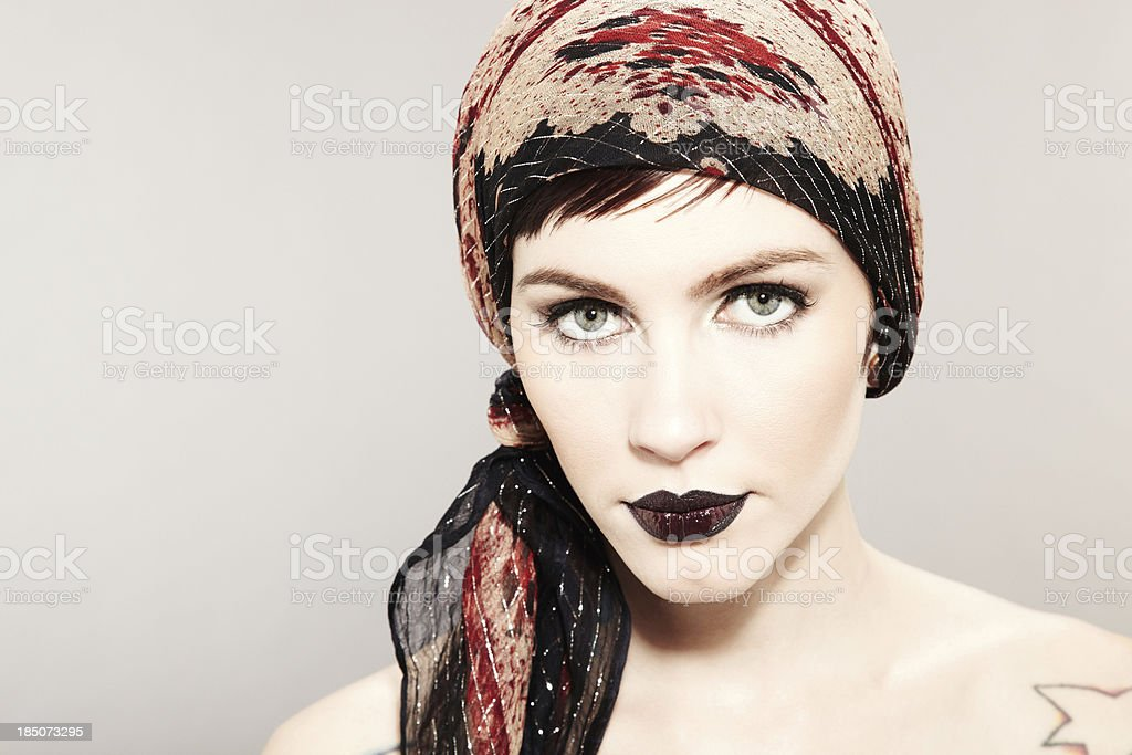 Woman Wearing Head Scarf and Dark Lipstick royalty-free stock photo