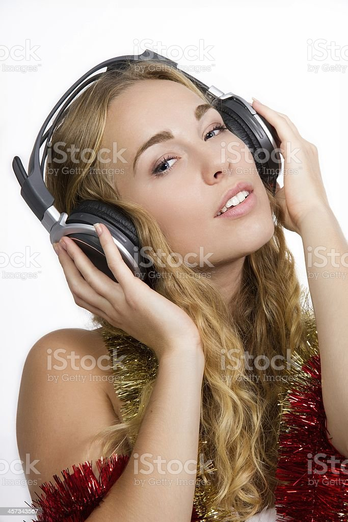 Woman wearing headphones stock photo