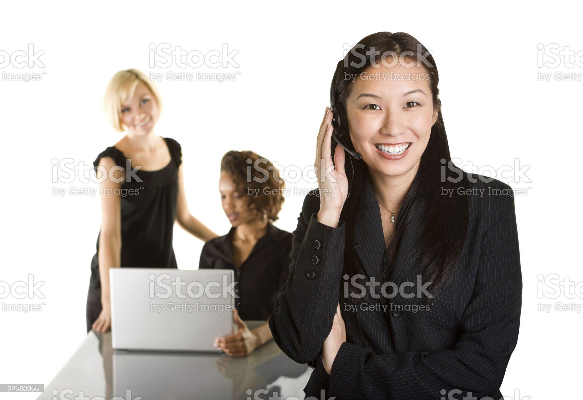 Woman wearing headset royalty-free stock photo