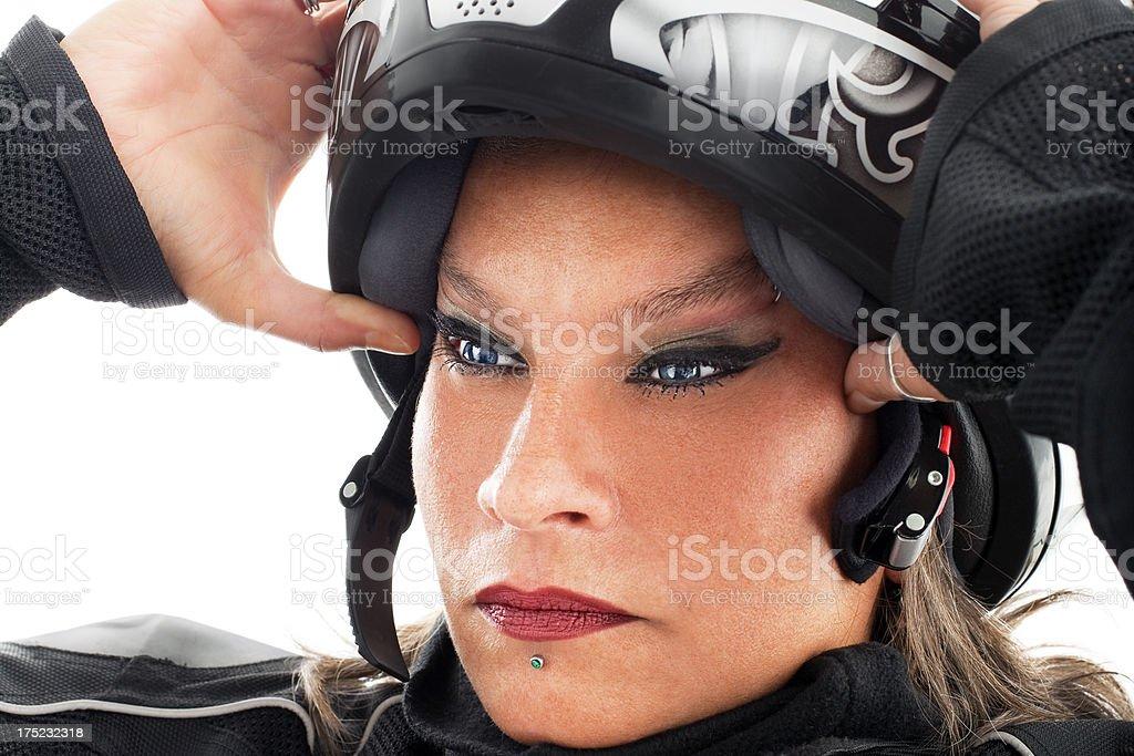 Woman Wearing Helmet stock photo