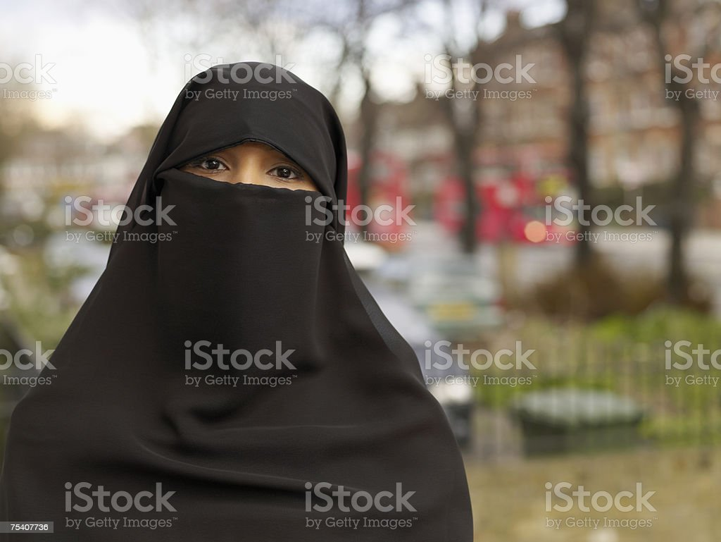 Woman wearing hijab stock photo