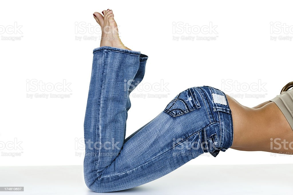 Woman wearing jeans royalty-free stock photo