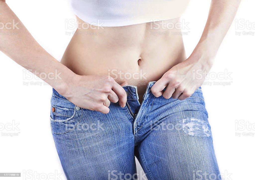 woman wearing jeans stock photo