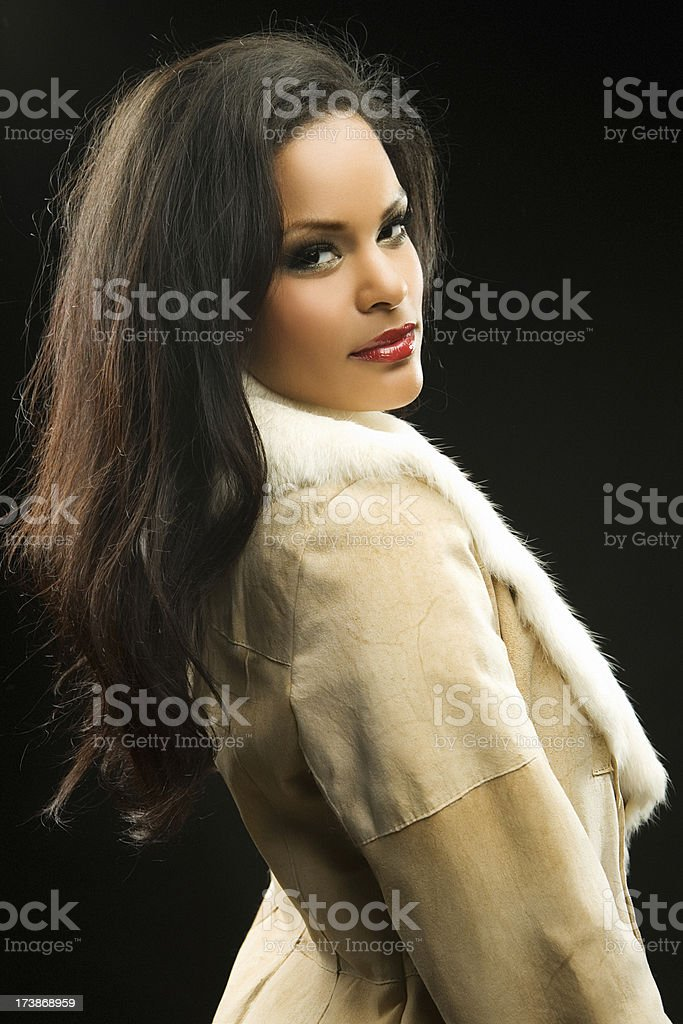 woman wearing lapin coat royalty-free stock photo